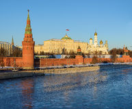 Moskau der Kreml im Winter, Moskau, Russland Lizenzfreies Stockbild