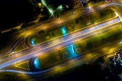 Moskau: eine Ansicht von oben genanntem auf Andropov-Allee nachts Stockbild