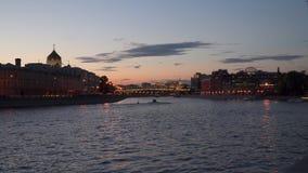 Moskau-Fluss am Abend Lizenzfreie Stockfotografie