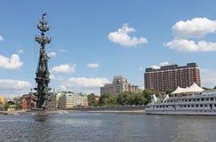 Moskau-Fluss und Monument Peter I Lizenzfreie Stockfotografie