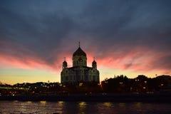 Moskau-Hauptkirche an den sanset Lichtern stockbild