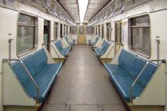 Moskau. Innenraum eines Untergrundbahnautos. Lizenzfreies Stockbild