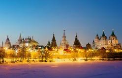 moskau Izmailovo Kremlin Sonnenuntergang auf den des Urals Bergen Lizenzfreie Stockfotografie