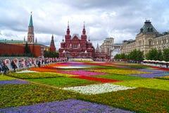 MOSKAU - 21. JULI: Blumen-Festival im Roten Platz zu Ehren Stockbilder