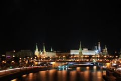 Moskau Kremlin in der Nacht Lizenzfreies Stockfoto