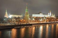 Moskau Kremlin. Nachtansicht. Russland Lizenzfreies Stockbild