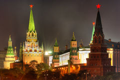 Moskau Kremlin nachts Lizenzfreies Stockfoto