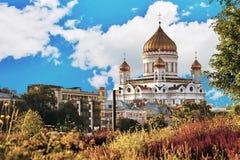 Moskau-Landschaft mit der Kirche von Christus der Retter Lizenzfreies Stockbild