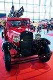 MOSKAU - 9. MÄRZ 2018: Löschfahrzeug PMG-1 1932 an der Ausstellung alt Stockbilder