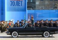 MOSKAU, AM 7. MAI 2015: Russischer Verteidigungsminister, Armee-allgemeine Serge Lizenzfreie Stockfotografie