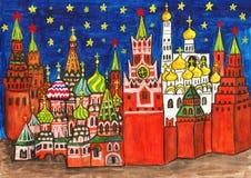 Moskau, malend Lizenzfreie Stockfotografie