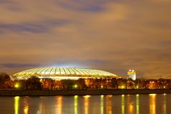 Moskau-Nacht, das Stadion ` Luzhniki-` Stockfoto