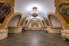 Moskau, Russia-APR8,2018: Innenraum von Kievskaya-U-Bahnstation stockfotos