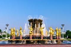 Moskau, Russie - 22 juillet 2016 : Fontaine VDNKh de nations d'amitié Photo libre de droits