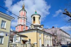Moskau, Russland, April, 15, 2017 Die Kirche des Heiligen Theodore Stratelate in Arkhangelsky-Weg Stockbilder