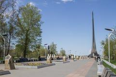 Moskau, Russland, am 29. April 2016: Monument zu den Eroberern des Raumes Stockfotografie
