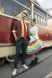 MOSKAU, RUSSLAND 12. April Paradetrams, engagiert zu 115. lizenzfreie stockfotos