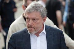 MOSKAU, RUSSLAND - 30. APRIL 2018: Politiker Grigory Yavlinsky lässt die Sammlung auf Sakharov-Allee gegen Internet-Zensur Lizenzfreies Stockfoto