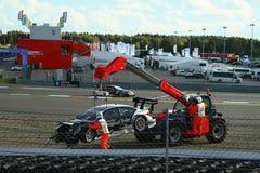 Moskau, Russland - 29. August 2015: Außerordentliches Stadium von Porsche-Sport-Herausforderungs-Moskau-Kanal im Rahmen des DTM-R Lizenzfreie Stockbilder