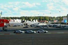 Moskau, Russland - 29. August 2015: Außerordentliches Stadium von Porsche-Sport-Herausforderungs-Moskau-Kanal im Rahmen des DTM-R Stockfotos