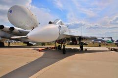 MOSKAU, RUSSLAND - AUGUST 2015: Flanker Su-27 dargestellt am 12. M lizenzfreies stockfoto