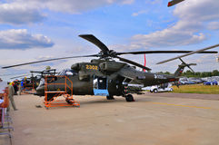 MOSKAU, RUSSLAND - AUGUST 2015: Hubschrauberangriff Mi-24 Hinter-presente Lizenzfreie Stockbilder