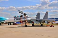 MOSKAU, RUSSLAND - AUGUST 2015: Kampfflugzeug Su-30 Flanker-c pres Stockfotografie