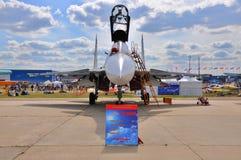 MOSKAU, RUSSLAND - AUGUST 2015: Kampfflugzeug Su-30 Flanker-c pres Stockbild