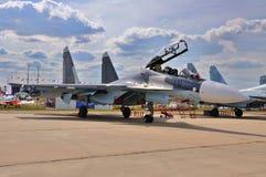 MOSKAU, RUSSLAND - AUGUST 2015: Kampfflugzeug Su-30 Flanker-c pres Stockbilder