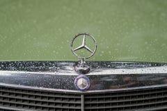 MOSKAU, RUSSLAND - 26. AUGUST 2017: Nahaufnahme des Mercedes-Autogrills und des berühmten Stern-Logos, Weinlesegrüne Selbstnahauf Stockbild