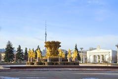 Moskau, Russland, Brunnen-'Freundschaft von Völkern auf VDNKh stockbilder