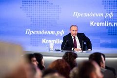 MOSKAU, RUSSLAND - 23. DEZEMBER: Der Präsident der Russischen Föderation Vladimir Vladimirovich Putin eine jährliche Pressekonfer Stockfoto