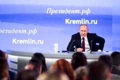 MOSKAU, RUSSLAND - 23. DEZEMBER: Der Präsident der Russischen Föderation Vladimir Vladimirovich Putin eine jährliche Pressekonfer Lizenzfreie Stockfotos
