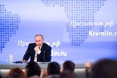 MOSKAU, RUSSLAND - 23. DEZEMBER: Der Präsident der Russischen Föderation Vladimir Vladimirovich Putin eine jährliche Pressekonfer Lizenzfreie Stockbilder