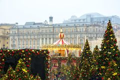 MOSKAU, RUSSLAND - Dezember 2017: Karussell in der Mitte von Moskau, hergestellt im Rahmen der Festival ` Reise zu Ch Lizenzfreie Stockbilder