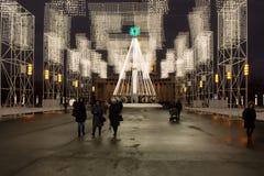 MOSKAU, RUSSLAND - 22. DEZEMBER 2016: Nachtansicht von VDNKh Stockfotos