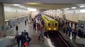 Moskau, Russland, Großstadtbewohner, ` Partizanskaya-` Metrostation, Ausstellung von Zügen 2 lizenzfreies stockbild