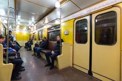 MOSKAU, RUSSLAND - 10. Januar 2018 Alter Zug von Zeiten von UDSSR an der Metrostation Okhotny Ryad stockfoto