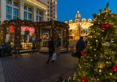 MOSKAU, RUSSLAND - 10. Januar 2018 Das Festival ist Reise zum Weihnachten auf Manege-Quadrat Stockfotografie