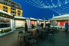 MOSKAU, RUSSLAND - 10. Januar 2018 Geschäftsshops auf Festival ist Reise zum Weihnachten Stockbild