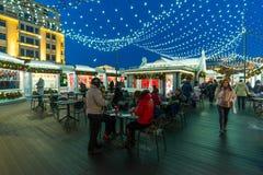 MOSKAU, RUSSLAND - 10. Januar 2018 Geschäftsshops auf Festival ist Reise zum Weihnachten Stockfoto