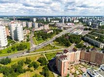 Moskau, Russland - 20. Juli 2017 Ansicht von der Höhe Verwaltungsbezirkes Zelenograd Stockbild