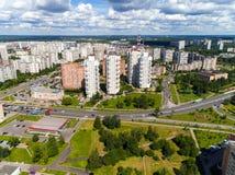 Moskau, Russland - 20. Juli 2017 Draufsicht Verwaltungsbezirkes Zelenograd Stockfotografie