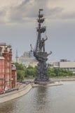 MOSKAU, RUSSLAND - 4. JUNI: Das Monument zum Zar Peter der Große Stockfotos