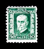 MOSKAU, RUSSLAND - 20. JUNI 2017: Ein Stempel gedruckt in Czechoslovaki Lizenzfreie Stockfotos