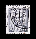 MOSKAU, RUSSLAND - 20. JUNI 2017: Ein Stempel gedruckt in Czechoslovaki Lizenzfreie Stockfotografie