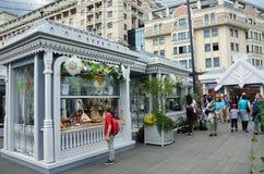 Moskau, Russland, Juni, 12, 2017 Feiertagshandel auf Manezhnaya-Quadrat während der Festival ` Zeiten und des Epochen ` lizenzfreie stockbilder