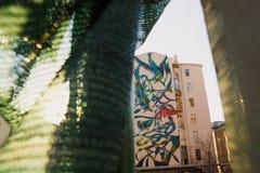 Moskau, Russland, Juni, 20, 2015 Russische Szene: Schöne Graffiti mit exotischen Vögeln und Anlagen von Antonio Correia (pant0ni0 Lizenzfreies Stockbild