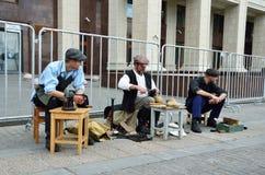 Moskau, Russland, Juni, 12, 2017, Teilnehmer der Festival ` Zeiten und des Epochen ` auf Manezhnaya-Quadrat, der Schuster und Sch lizenzfreies stockbild