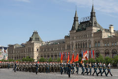 Moskau, Russland - können 09, 2008: Feier von Parade Victory Days WWII auf rotem Quadrat Ernster Durchgang der militärischer Ausr Stockfoto